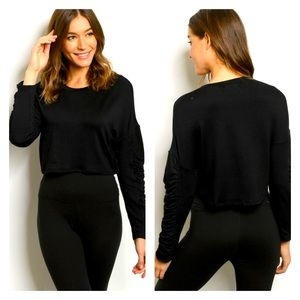 Ruched Sleeve Crop Top